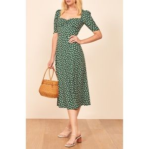 NWT Reformation Matin Midi Green Floral Chive, 6